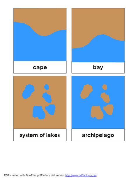 montessori card set template land water form 3 parts cards k 1 social science