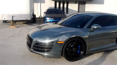audi r8 wrapped black chrome wrapped audi r8