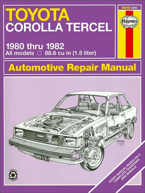free car repair manuals 1982 toyota celica spare parts catalogs toyota corolla tercel repair manual 1980 1982 haynes 92040