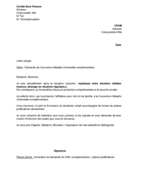 Exemple gratuit de Lettre demande Couverture Maladie