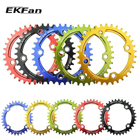 Chainwheel Sepeda 104bcd 34t ekfan oval 104bcd 32t 34t 36t cycling chainring narrow wide ultralight 7075 t6 mtb bike