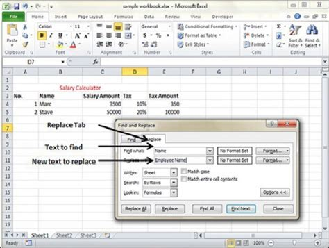 tutorialspoint exles find and replace in excel 2010