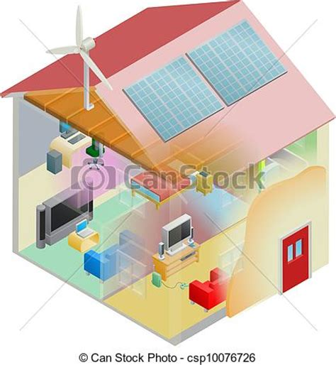 Energy Efficient Small House Plans Vector Illustration Of Green Energy House Energy