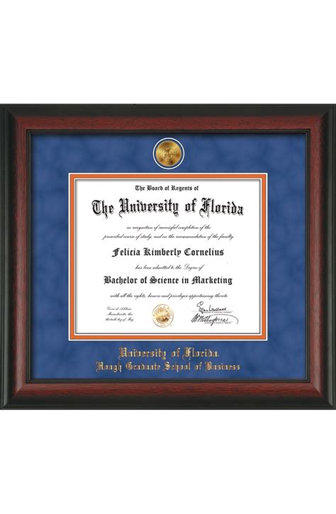 Of Florida Mba by Uf Mba Classic Script Diploma Frame With Medallion Gator