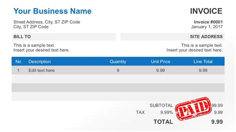 simple invoice simple invoice template for powerpoint