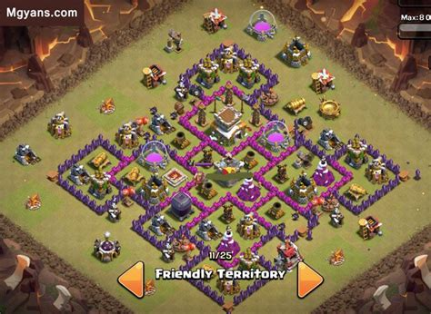 layout coc 4 mortar top 5 th8 4 mortar war base of 2015 clash of clans clash