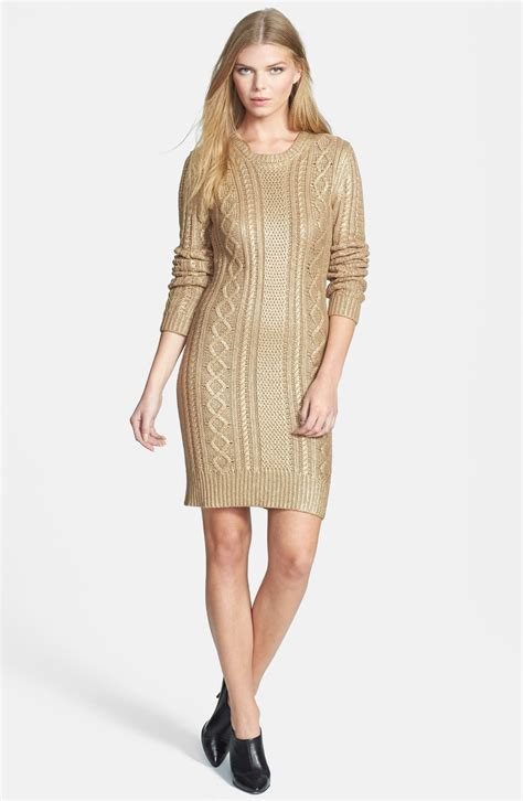 Michael Michael Kors Foil Cable Knit Sweater Dress In