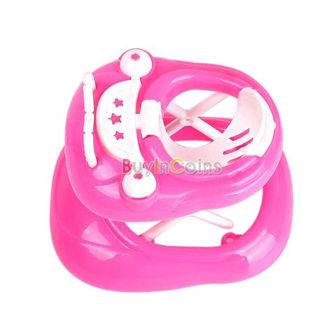New Pink Plastic Walker 1 6 For Doll S House Dollhouse Miniatur gift kid child pink plastic walker 1 6 for new doll s house dollhouse miniature