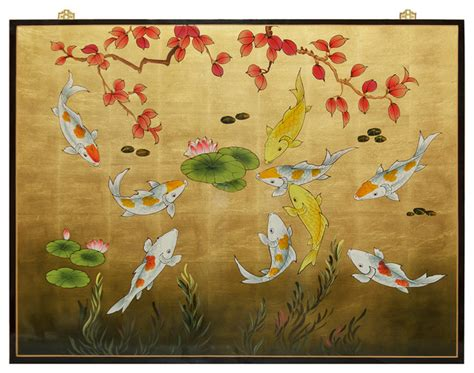 japanese koi wall decal asian style decoration gold leaf prosperity koi fish panel asian wall decor