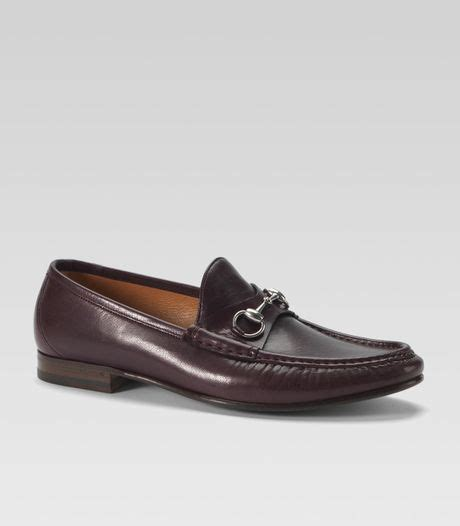 gucci classic bit loafer in brown for burgundy lyst