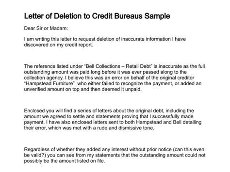 Letter To Credit Bureau To Remove Account Letter Of Deletion