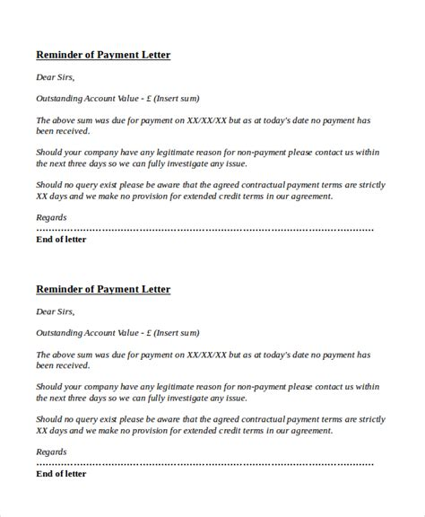 Overdue Payment Reminder Letter To Customer payment reminder letter template 7 free word pdf