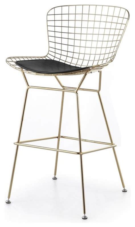 black wire counter stools wire bar stool gold finish black seat pad modern bar