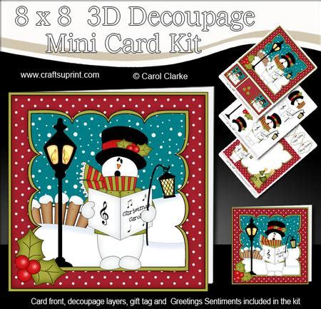 3d Decoupage Picture Kits - 8x8 singing snowman mini kit 3d decoupage