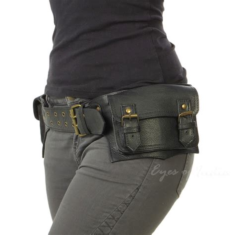 black brown leather belt bum waist hip bag pouch