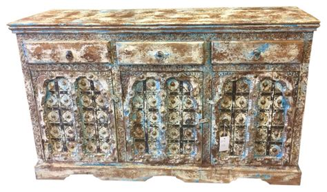 asian style sideboard blue patina consigned sideboard media console buffet distressed blue