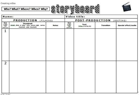 Video Storyboard Template Doliquid Microsoft Excel Storyboard Template