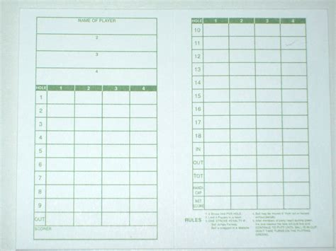golf scorecards templates golf score card template images