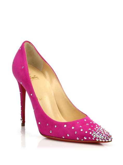 christian louboutin degrastrass suede pumps in pink lyst