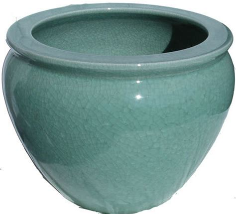 fishbowl planter in chinese porcelain in green crackle