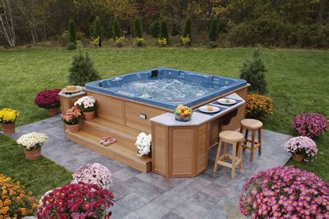backyard hot tub design ideas 16 best images about spas ext 233 rieur on pinterest decking