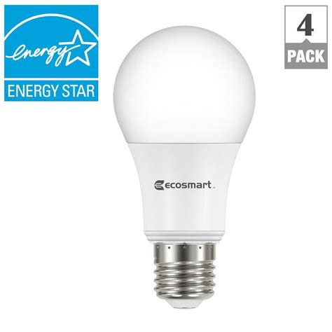 Led Light Bulb Equivalent Ecosmart 60w Equivalent Soft White A19 Energy Dimmable Led Light Bulb 4 Pack A810ss Q1d