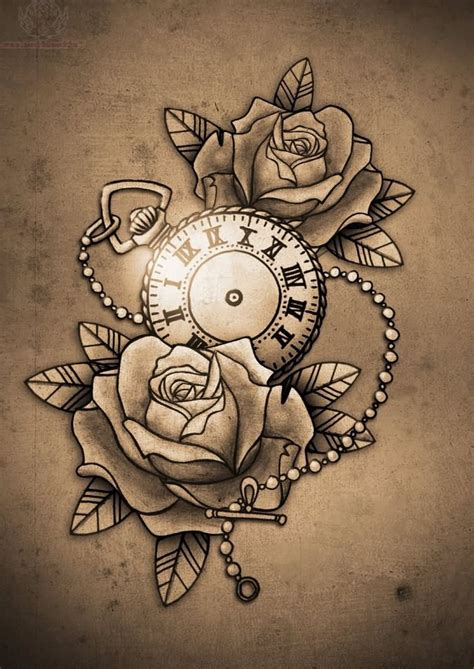 clock with roses tattoo flowers design and