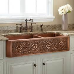 Copper Farmhouse Kitchen Sink 42 Quot Sunflower 60 40 Offset Bowl Copper Farmhouse Sink Kitchen