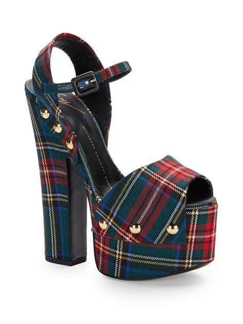 Tartan Platform Sandal giuseppe zanotti tartan plaid wool platform sandals in black multi lyst