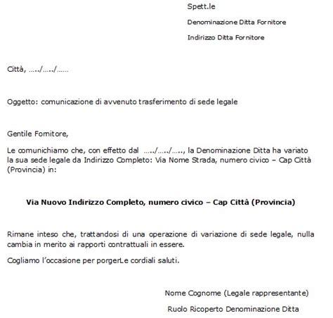 modello lettera trasferimento sede legale