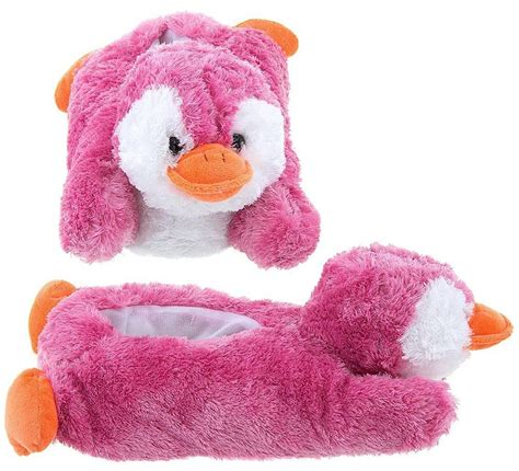 fuzzy animal slippers for adults wishpets children size pink penguin animal soft