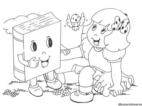 libros para colorear 2 libros para colorear dibujo de una ni 241 a con un libro