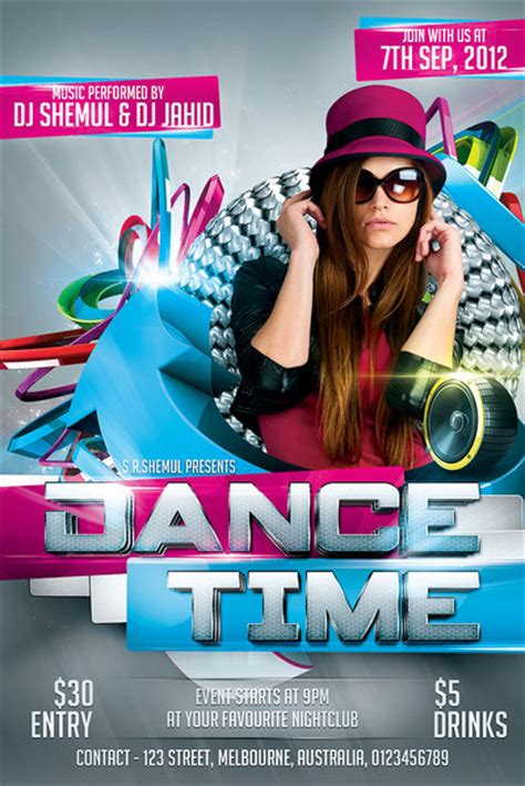template flyer girl dance dance time party flyer template by shemul on deviantart