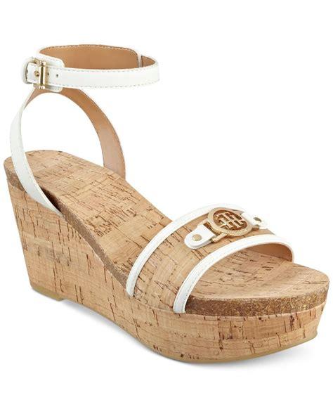 hilfiger wedge sandals hilfiger hesley platform wedge sandals in white lyst