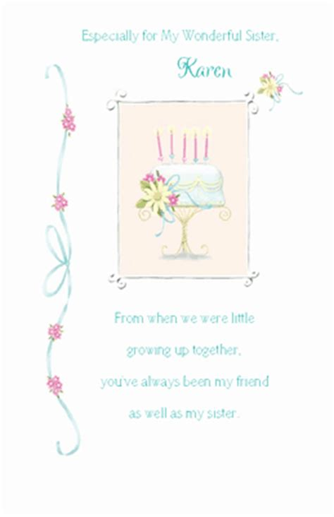 printable birthday cards for little sister quot to my wonderful sister quot birthday printable card blue