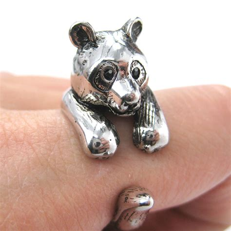3d panda ring in shiny silver sizes 5 to 10