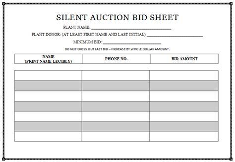sample silent auction bid sheet blue avocado