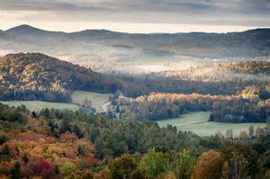 vermont fall colors morning mist hangs vermont fall foliage photograph by