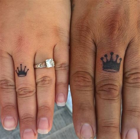 finger tattoo king queen 50 king and queen tattoos for couples 2018 tattoosboygirl