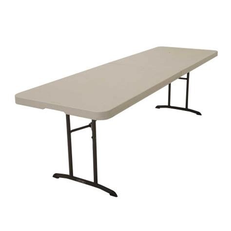 8 foot folding table home lifetime 80175 fold in half utility table almond 8