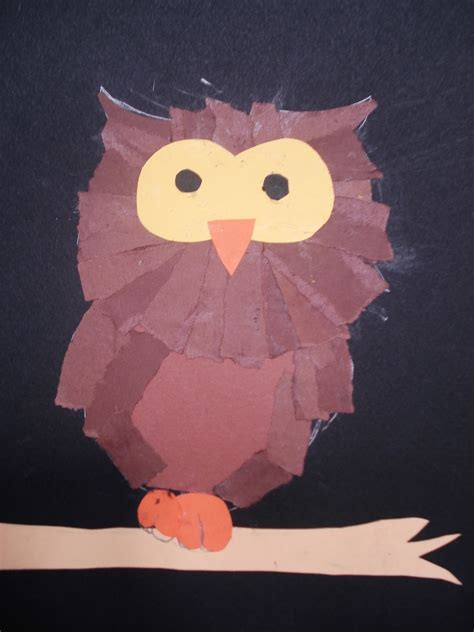 Owl Craft Paper - a faithful attempt torn paper owls