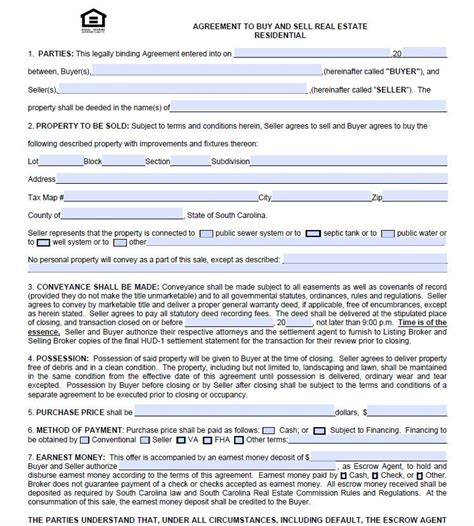free real estate contract templates charleston real estate agreement to purchase form free