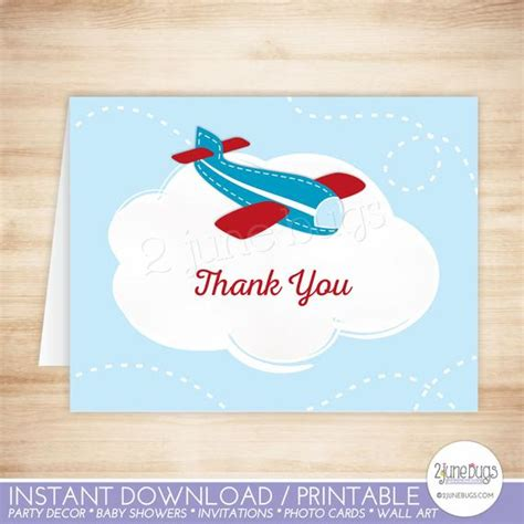 Boy Thank You Card Template by Airplane Thank You Card Template Airplane Folded Thank