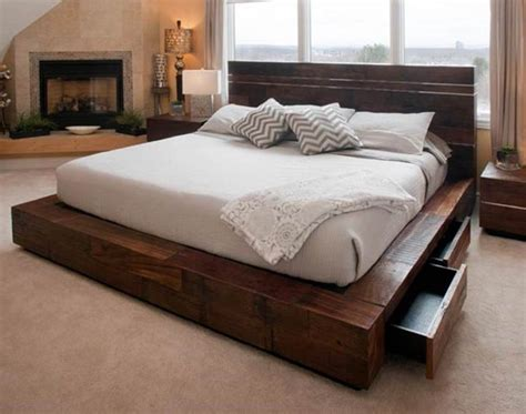 cool platform beds affordable rustic wood platform bed for unique bedroom