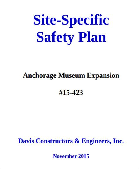 29 Safety Plan Sles Free Premium Templates Construction Site Safety Plan Template