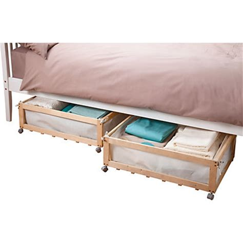 Underbed Drawers Wood by Fabric Wood Underbed Storage Drawers On Castors Set Of 2