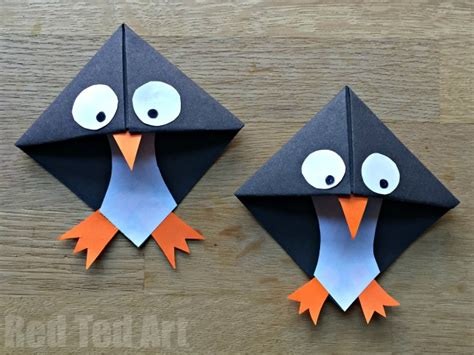 How To Make An Origami Corner Bookmark - easy penguin bookmark corner ted s