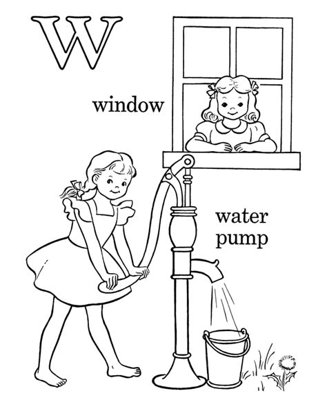 W Is For Water Coloring Page by Learning Years Coloring Pages Letters Objects