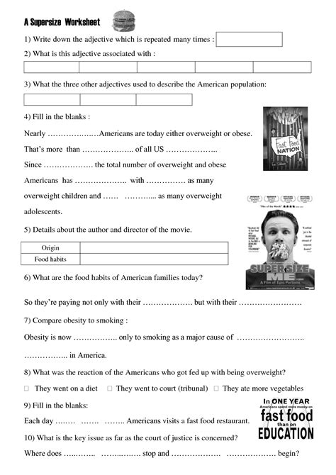 Supersize Me Worksheet by Worksheet Size Me Health Class