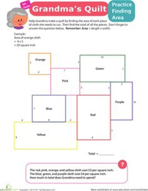 quilt math worksheets printable math area on pinterest area and perimeter graph paper